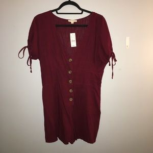 PacSun burgundy button romper new with tags